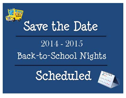Back-to-School Night Dates Announced