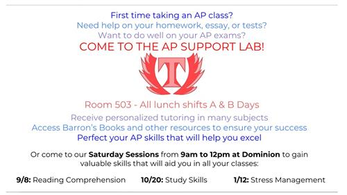 AP Support Lab offers lunch-block and Saturday help!