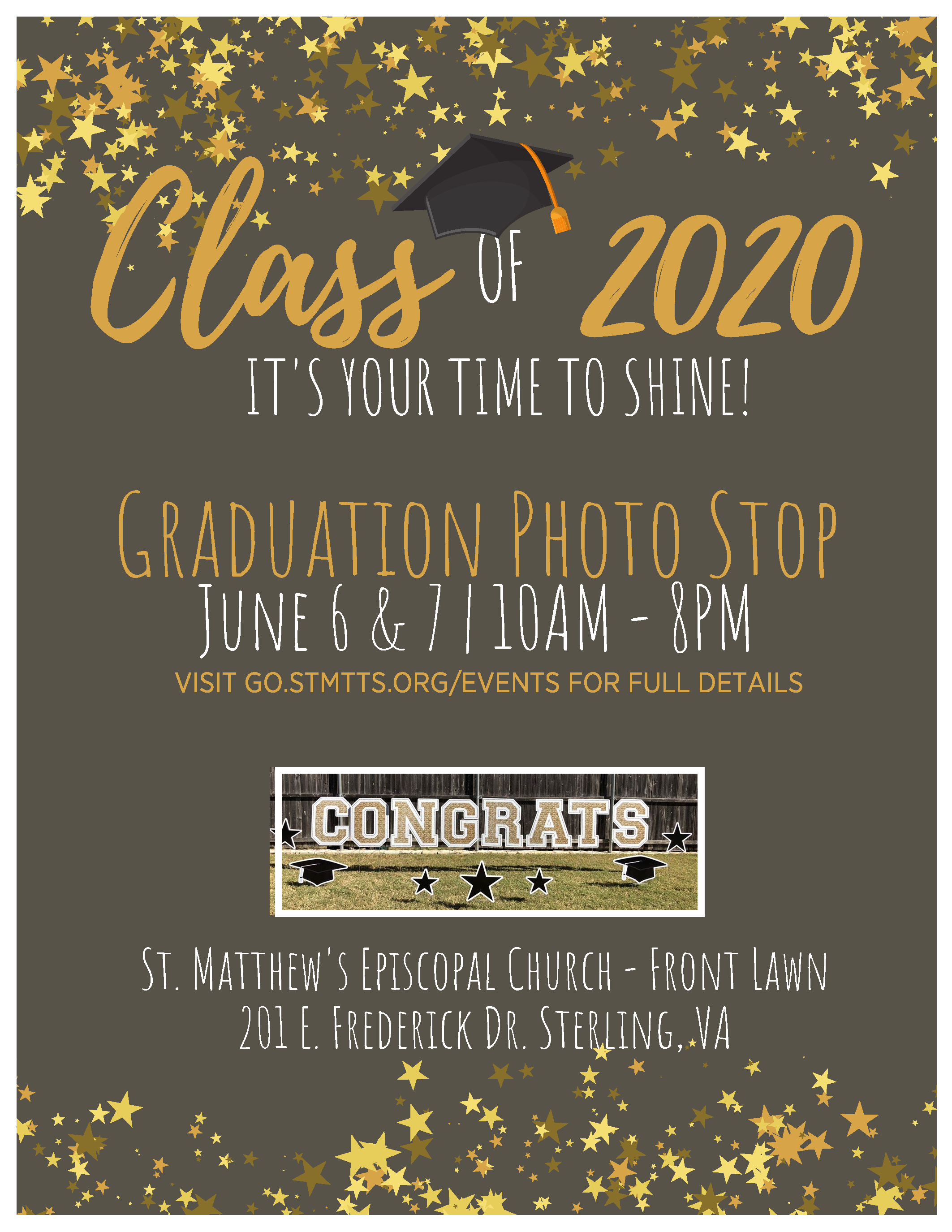graduation photo stop flyer