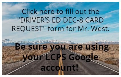Driver's Ed DEC-8 Card Request