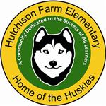 Face of husky dog on green background with a yellow circle border