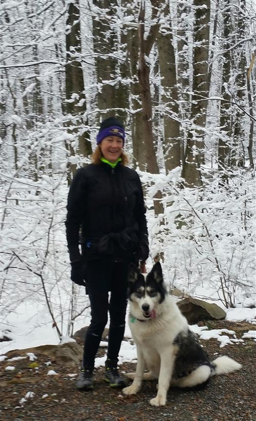 My puppy Sitka and me on a winter hike.