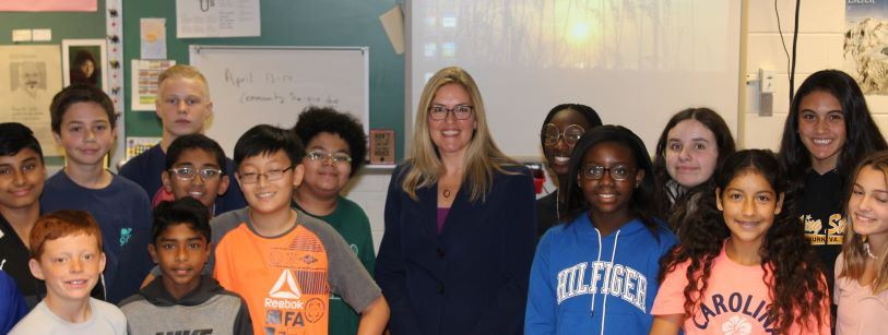 """Congresswoman Jennifer Wexton visited ERMS Civics and Communications classes Friday, getting to know the school and answering students questions""."
