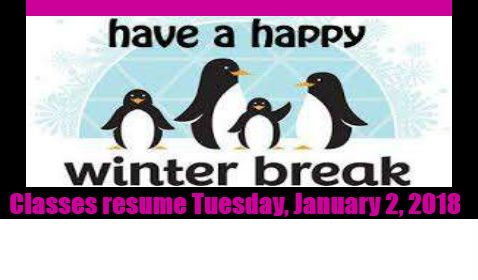 Have a Happy & Safe Winter Break!