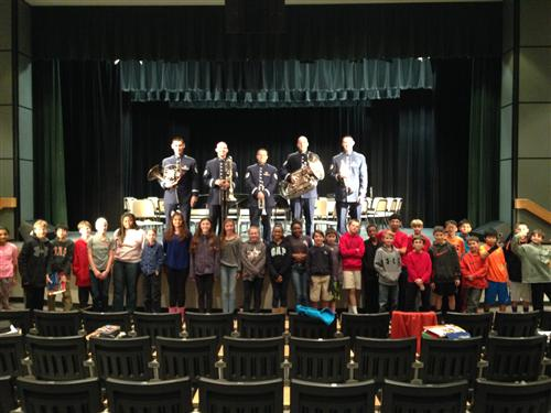 USAF Brass Quintet visit with Brass 6 students