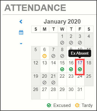 View the daily attendance code by hovering over the date in the web version of ParentVUE