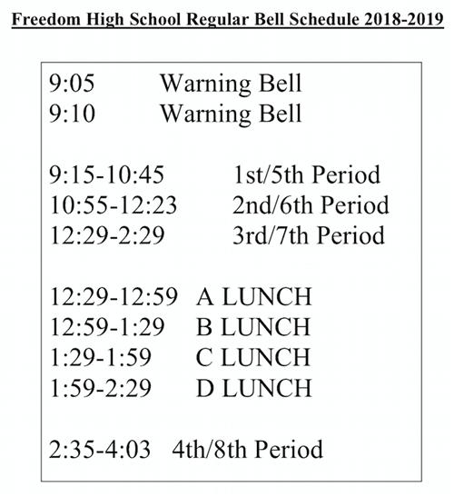 Bell Schedule Fhs Regular Bell Schedule
