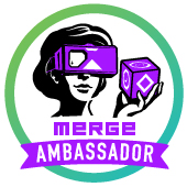 Picture of woman holding a Merge Cube