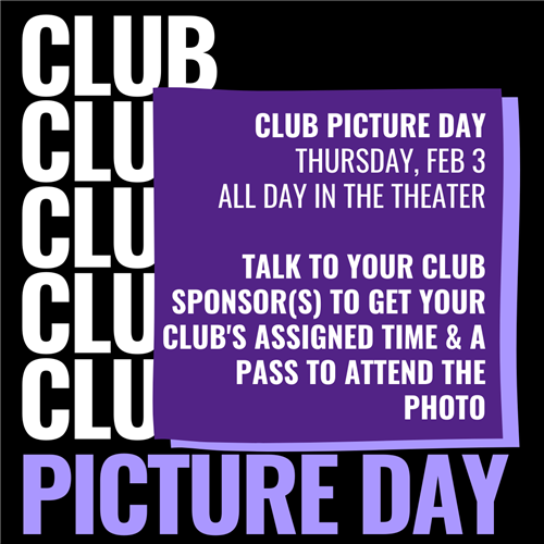 Club Picture Day - Jan. 28