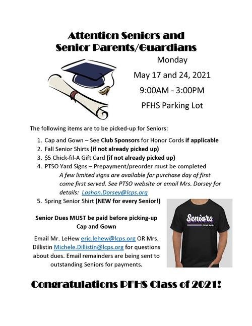 Cap & Gown Pickup: May 17 & 24 9a-3p