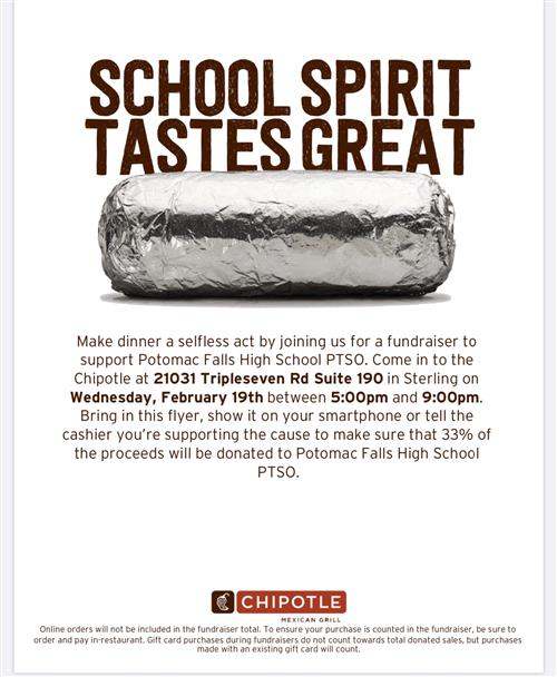 Chipotle Restaurant Night - Feb. 19