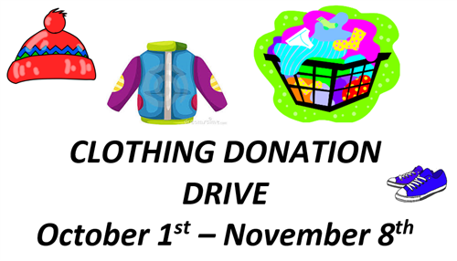 Clothing Donation Drive Oct 1 - Nov 8