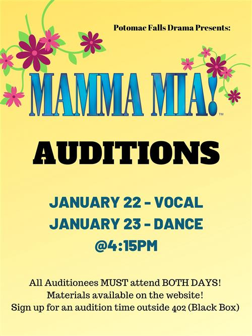 Mamma Mia Auditions - Jan. 22 & 23