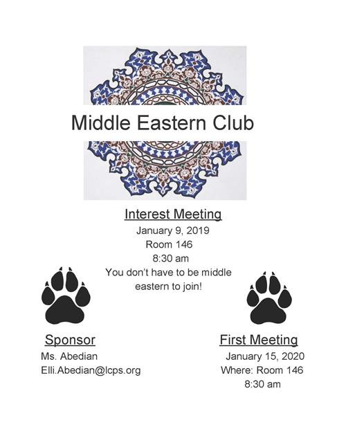 Middle Eastern Club Mtg - Jan. 9