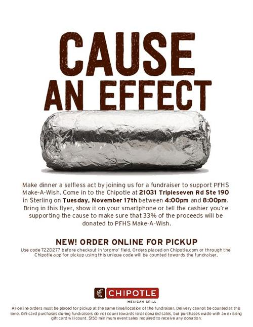 Chipotle Spirit Night - Nov. 17
