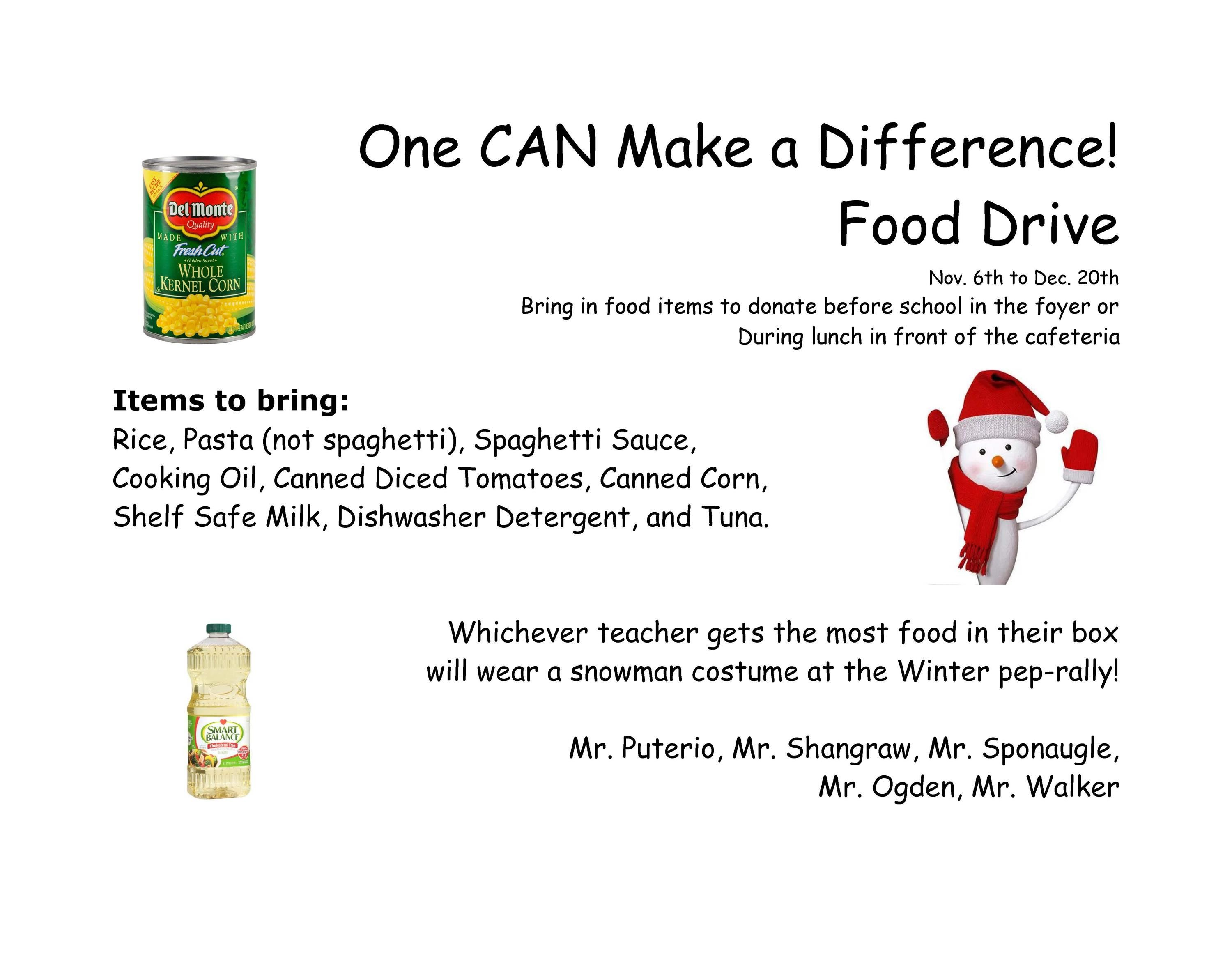 Food Drive: Nov. 6-Dec. 20