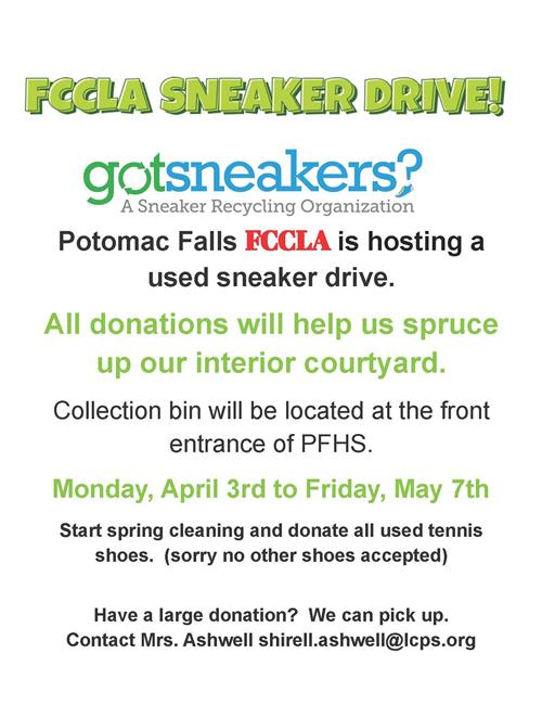 FCCLA Sneaker Drive: April 3-May 7