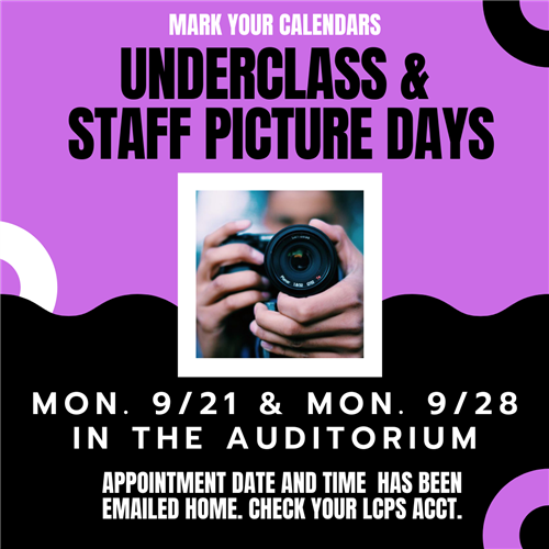 Underclass & Staff Picture Days