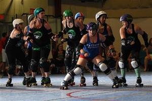 "Mrs. Mosholder as ""Anya Smash'n'Hold-her"" in the Beltway Betties jersey. Photo Credit: Karl Haase"