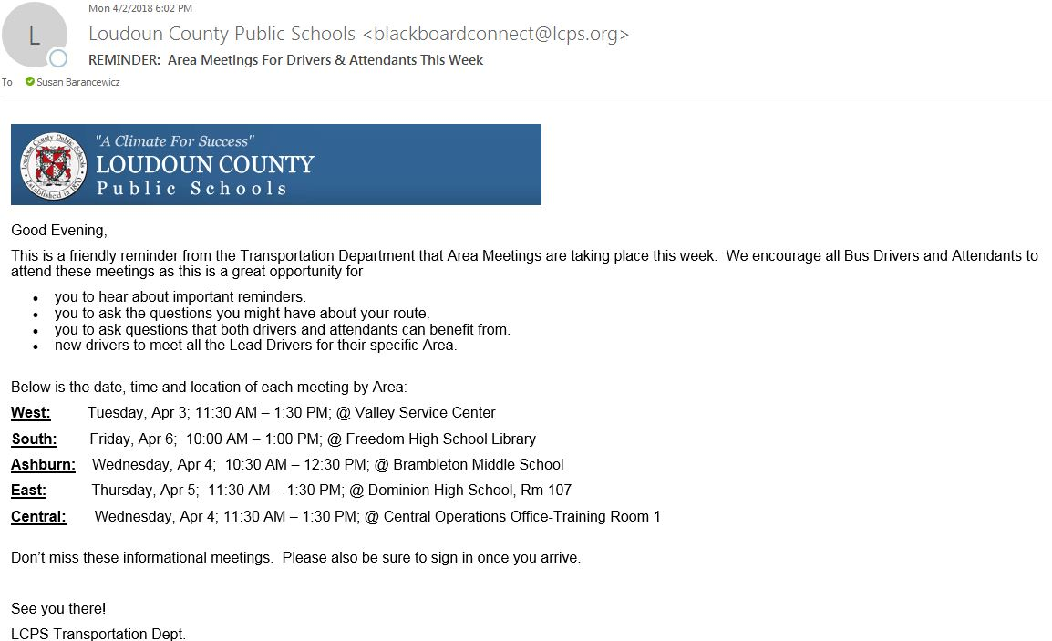 Transportation / LCPS Employee Section