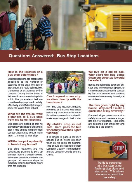 Questions Answered:  Bus Stop Locations