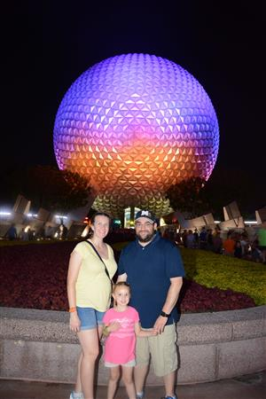 Mr. Spencer and his family at EPCOT