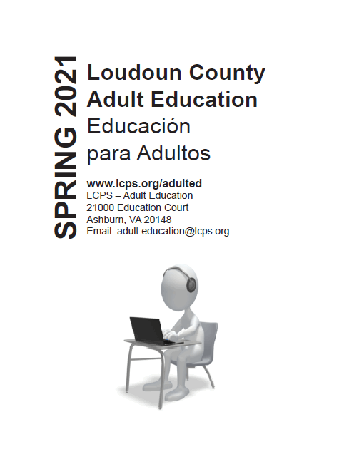 Cover of the Adult Education Catalog Spring 2021