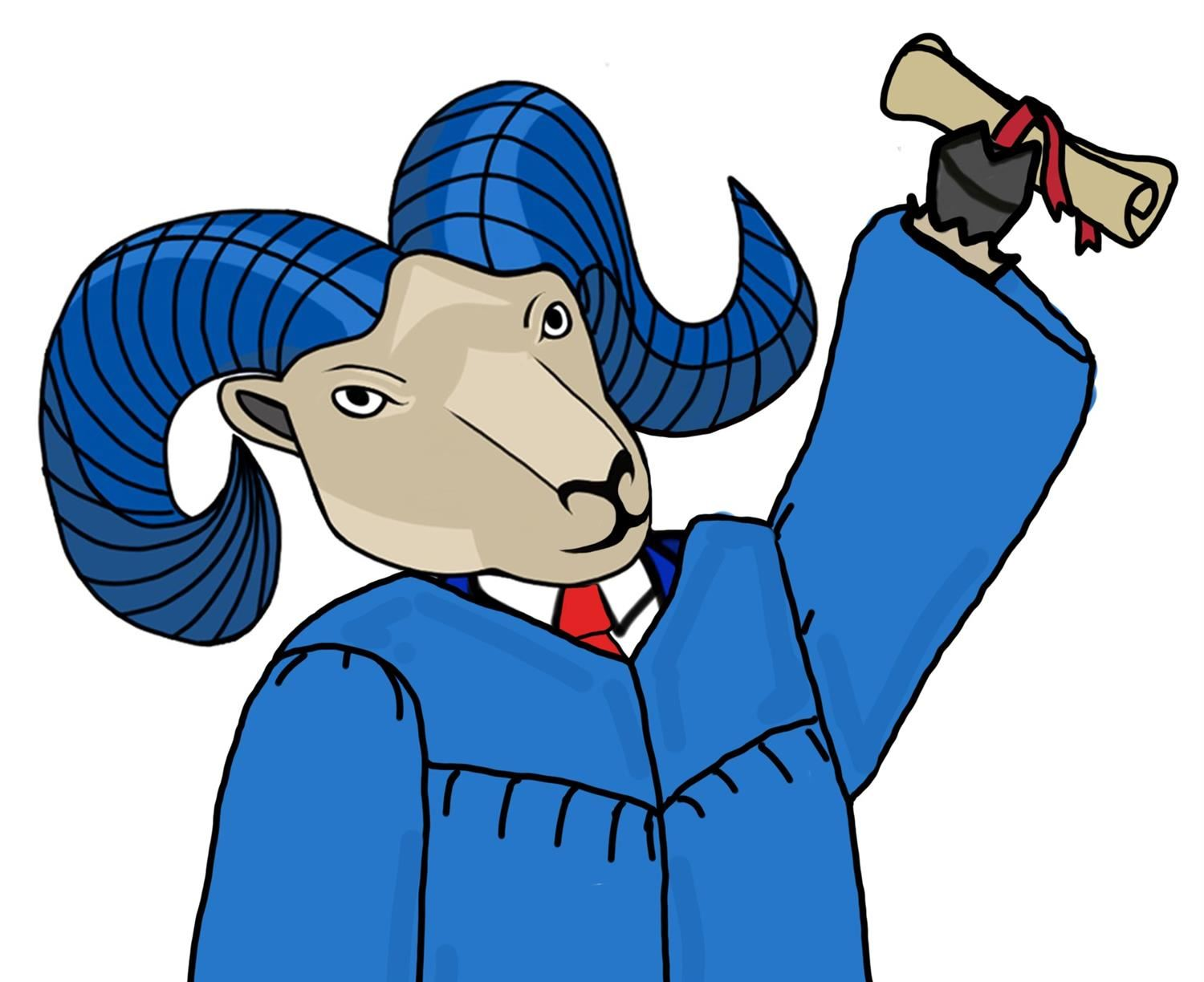 Ram holding up a diploma in blue cap and gown