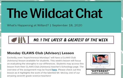 Wildcat Chat | What's Happening at Willard? | September 18, 2020