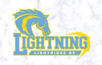 Lightning words with bolt the horse above and Lightridge HS in the banner