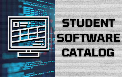STUDENT SOFTWARE CATALOG TEXT WITH COMPUTER IMAGE ON THE LEFT