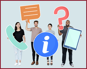 Group of professional adults holding contact symbols