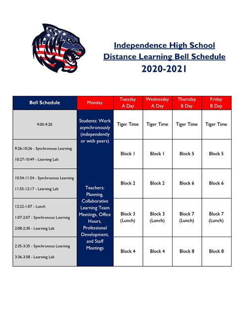 IHS Distance Learning Bell Schedule