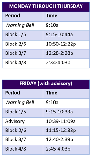 Normal Bell Schedules