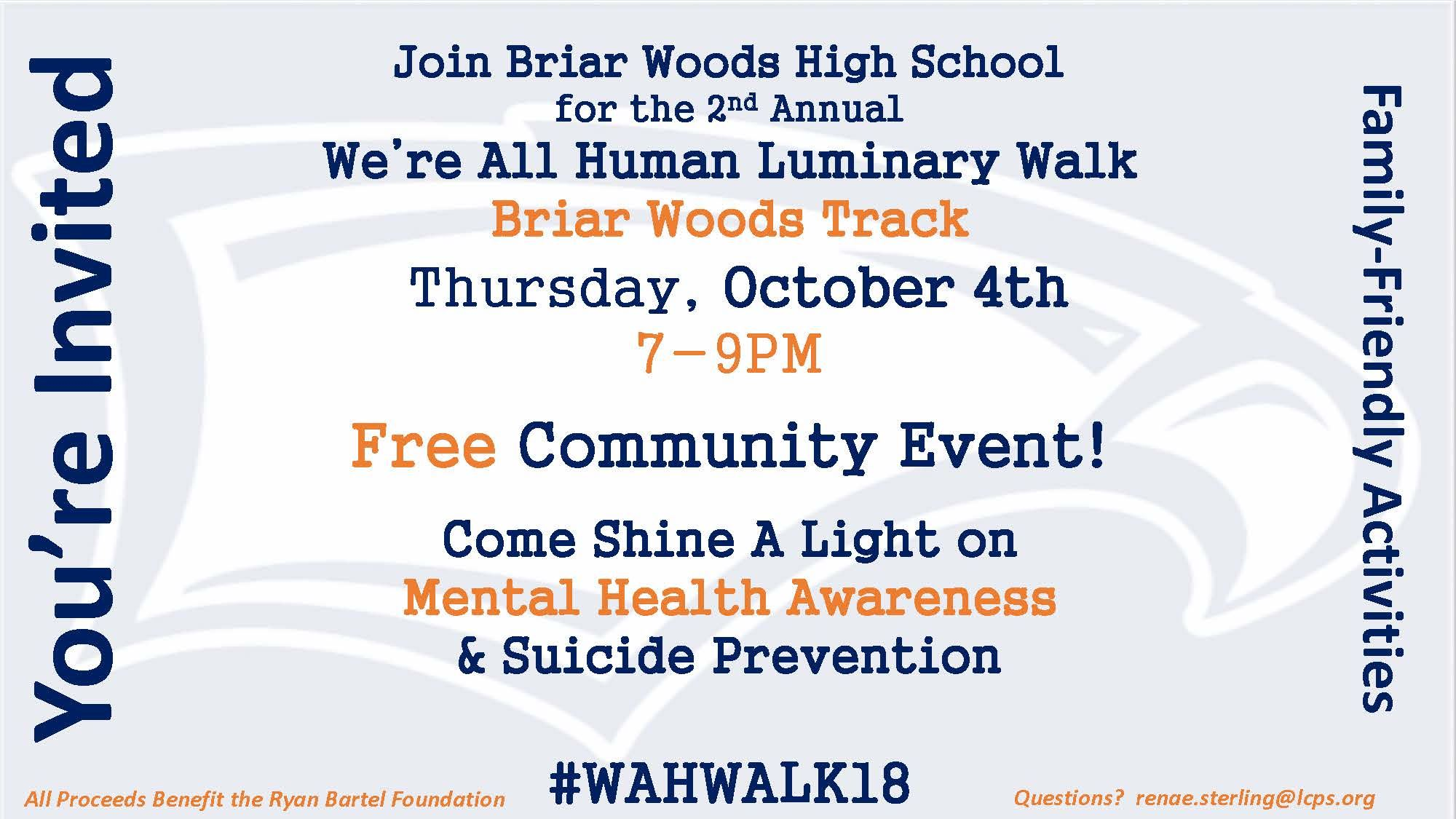 Join Us! Oct. 4th Briar Woods- We're All Human Luminary Walk