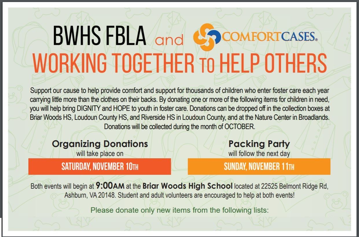 BWHS FBLA and Working Togetherto Help Others