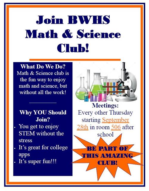Join BWHS Math & Science Club!