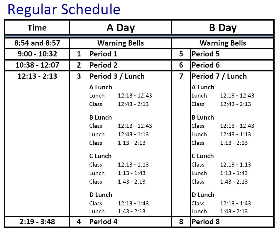 Bell Schedule Bell Schedule