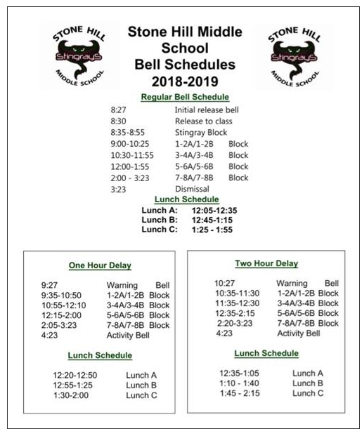Stone Hill bell schedule