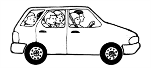 Parents and children in car