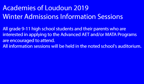 Academies of Loudoun 2019 Winter Admissions Information Sessions