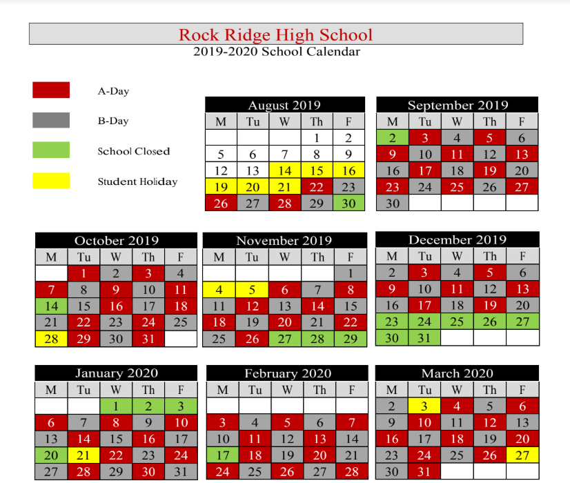 Rock Ridge AB Day Calendar
