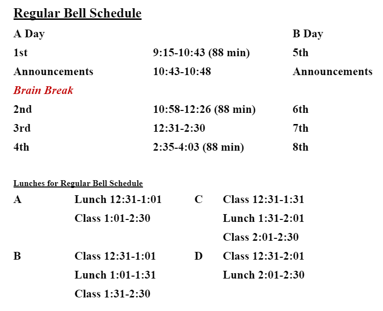 Rock Ridge Bell Schedule