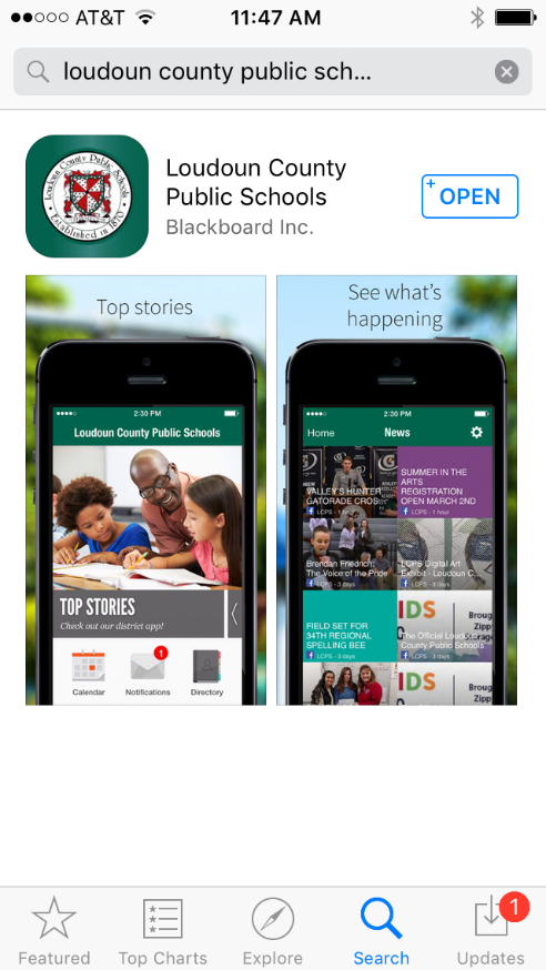 View image of LCPS mobile app