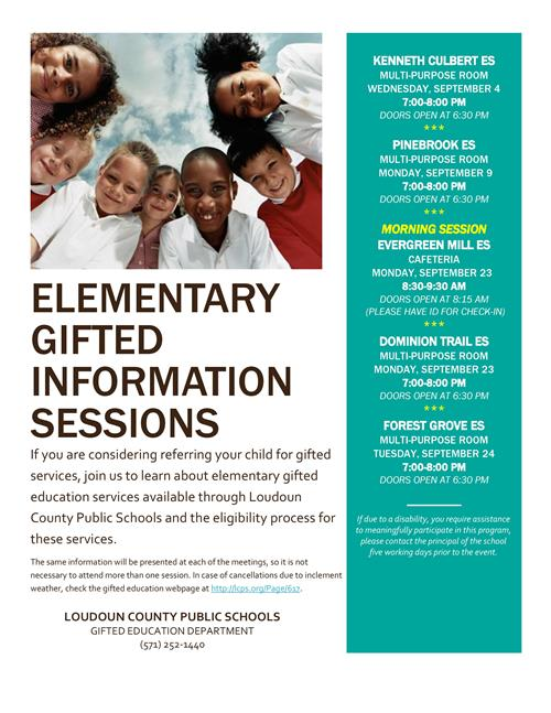 Fall 2019 Gifted Information Sessions