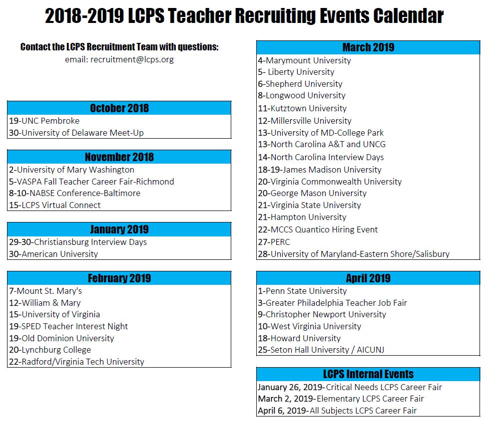 Loudoun County Public Schools Calendar 2020 Job Opportunities / Recruitment Calendar