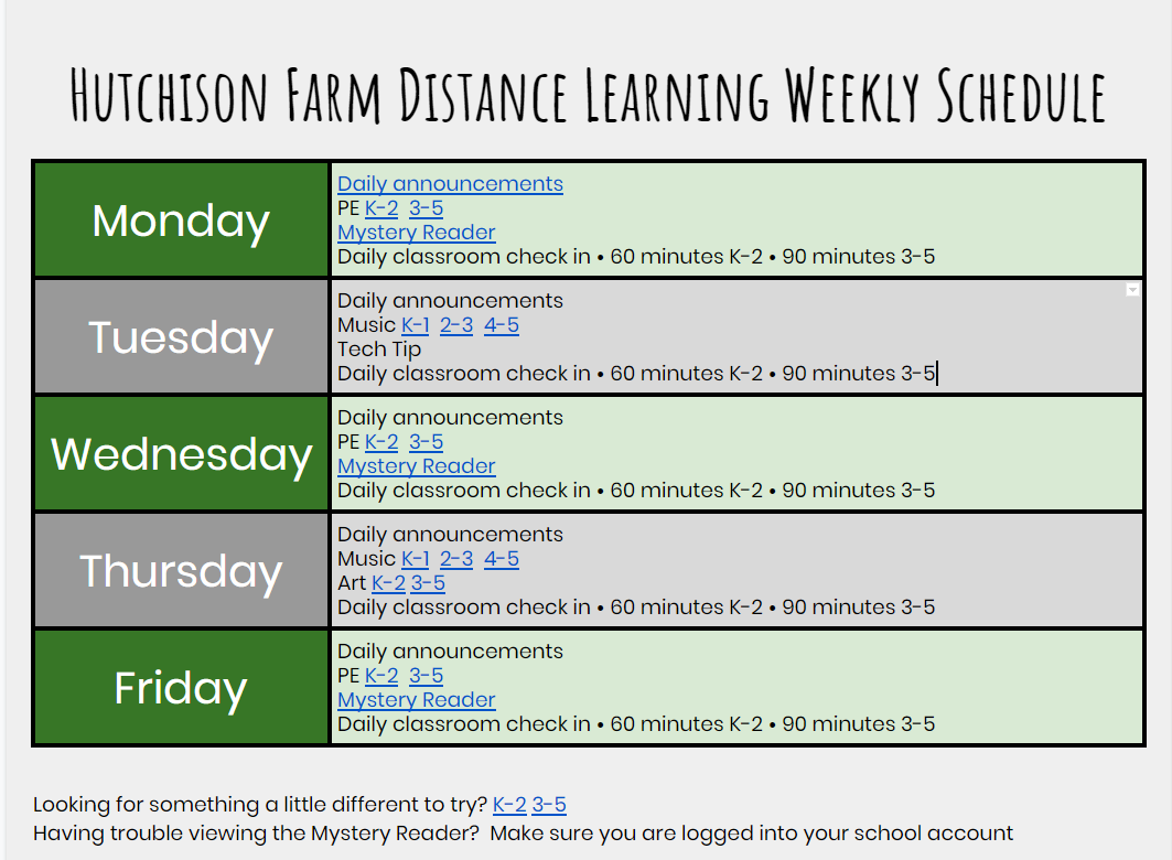 Hutchison Farm Distance Learning Weekly Schedule