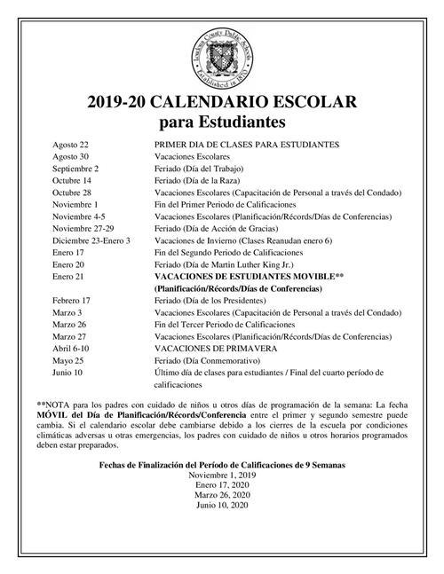 Calendario Community Manager 2020.Student Calendar 2019 2020 Overview