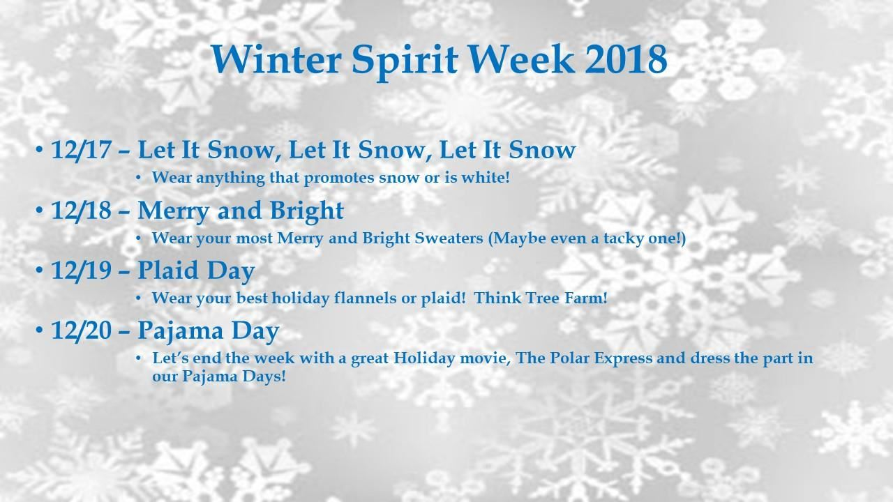 Winter Spirit Week 2018