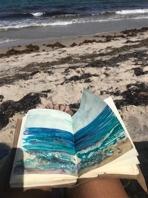 Marker and watercolor study at Lantana Beach, FL